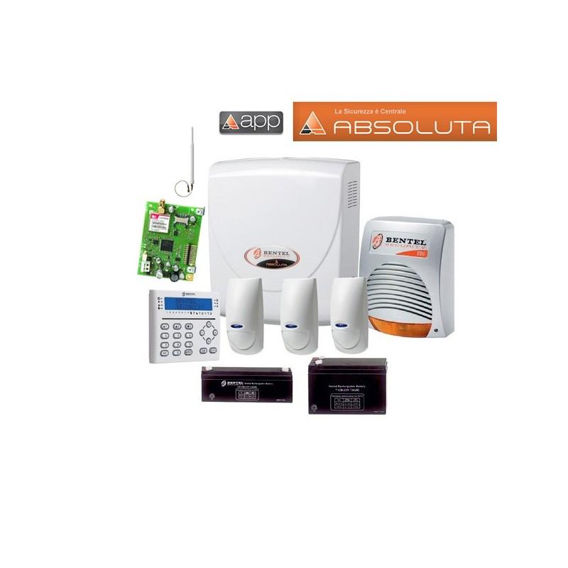 Kit allarme BENTEL ABSOLUTA 16 8 e 16 zone doppia tecnologia con GSM e batterie - Vs di Greco ...