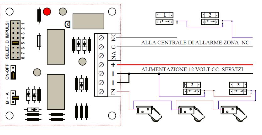 Schema Collegamento Antifurto Filare : Rotello contatto a rotella protezione sollevamento tapparella