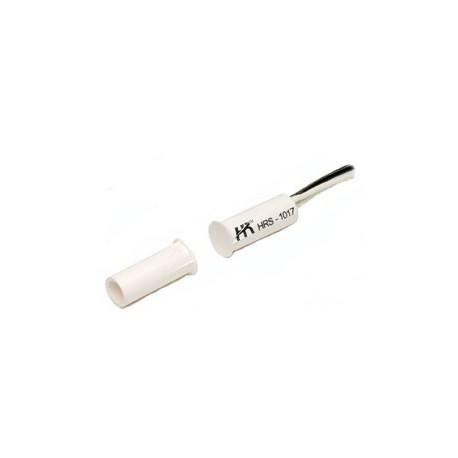 Contatto magnetico cilindrico in ABS per il montaggio adincasso su infissi di legno o alluminio.