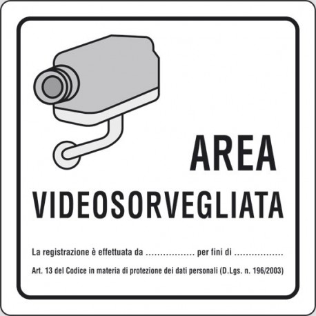 Cartello area videosorvegliata art.13