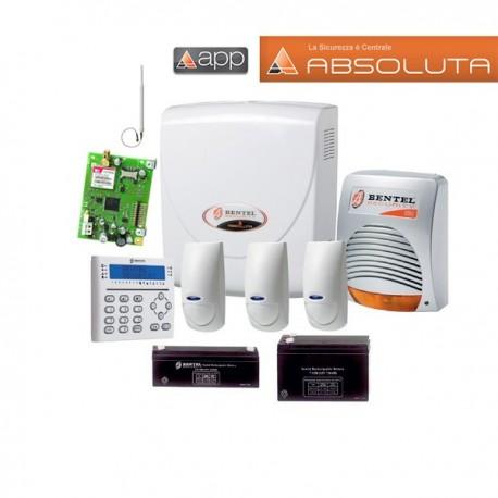 Kit allarme BENTEL ABSOLUTA 16 8 e 16 zone doppia tecnologia con GSM e batterie