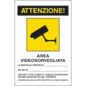 Cartello TVCC area videosorvegliata art.13 con spazio scrittura