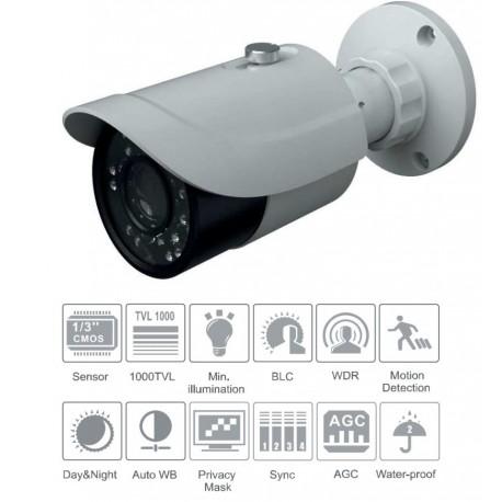 Telecamera bullet AHD D/N 1080P 1920x1080, CMOS ottica 2.8 - 12mm, IR portata 20-30 mt