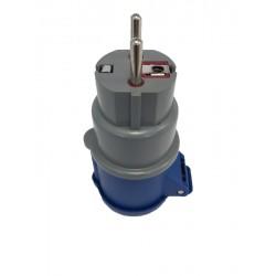 Adattatore industriale spina schuko 16A a presa CEE 2X16A+T