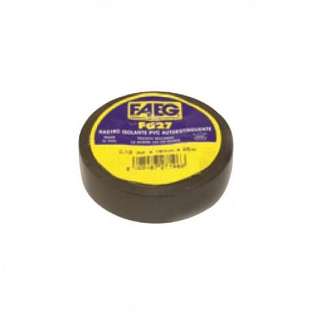 2pz. FAEG Nastro isolante elettrico Nero 19mm x 25m X 0.13mm PVC