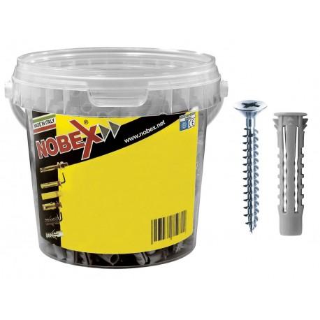 NOBEX 300pz tasselli 6mm nylon con vite + punta muro 6 + punta sds plus 6