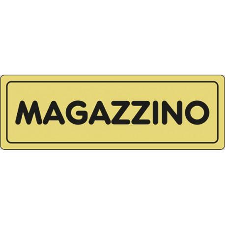 Cartello adesivo Magazzino sfondo oro 15x5cm