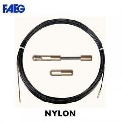 Sonda passacavi tirafili nera 4mm 20 mt in nylon terminale in ottone