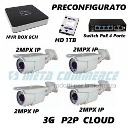 Kit Videosorveglianza IP nvr 8CH 4 telecamere IP 2MPX SWITCH PoE