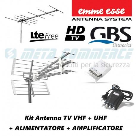 Kit antenna TV digitale terrestre VHF UHF EMMESSE GBS con alimentatore e amplificatore filtro LTE