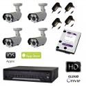 Kit videosorveglianza AHD 4 telecamere 1.3MPX led array DVR 4 canali e HD 1TB