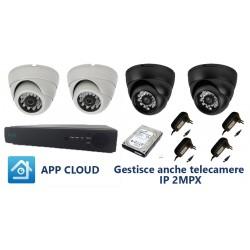 Kit videosorveglianza BCS analogico DVR ISI 4 canali e 2 telecamere 600tvl