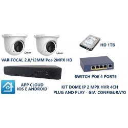 Kit videosorveglianza di rete IP NVR 4 canali 2 telecamere DOME 2mpx PoE Varifocal 2.8/12mm
