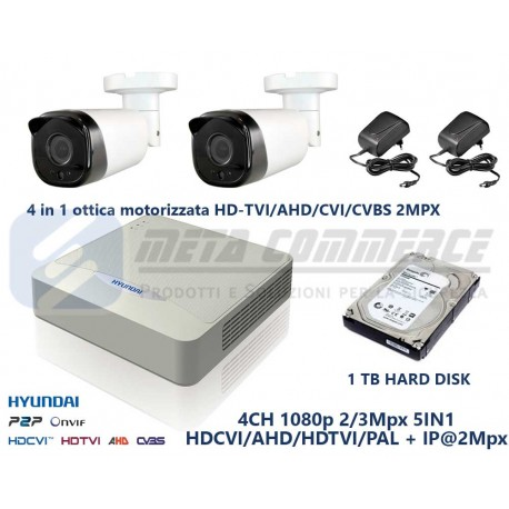 Kit videosorveglianza 2 telecamere HD TVI AHD CVI varifocal motorizzata 2.8-12mm DVR HYUNDAI 4 CH 1080p
