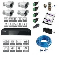 Kit videosoveglianza completo dvr 8ch 5 in 1 4 telecamere 2mpx ottica fissa 50mt di cavo HD 1TB connettori