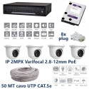 Kit videosorveglianza IP 1 Nvr 4 porte POE 3mpx 4 telecamere varifocal 2.8-12mm PoE 2MPX HD 1TB