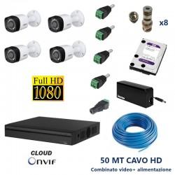 Kit Videosorveglianza CVI DVR 4 canali + 2 telecamere 2mpx ottica fissa 3.6mm con Hard Disk 1 TB e accessori