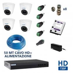 Kit videosoveglianza completo dvr 4ch 5 in 1 4 telecamee dome 1.3mpx 50mt di cavo HD 1TB connettori