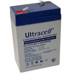 Batteria al piombo ricaricabile 6V volt 4,5 A ULTRACELL UL4.5-6