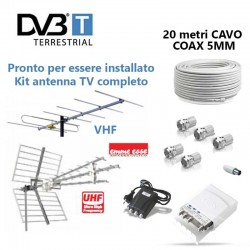 Kit antenna tv digitale terrestra VHF + UHF amplificatore spinotti e cavo