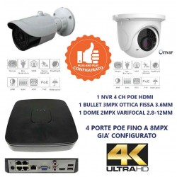 Kit videsorveglianza IP 4CH HD 4K 1 telecamera 3mpx bullet e 1 dome varifocal 2mpx 2.8-12mm