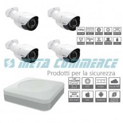 Kit videosorveglianza DVR 5 in 1 4 telecamere AHD ottica fissa 3.6mm 1080P 2mpx