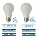Kit 2 pezzi lampadina led 11W 360° gradi tutto vetro luce naturale 4000K E27