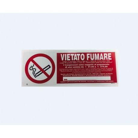 Cartello vietato fumare 30x12 alluminio multa trasgressori scrittura responsabile