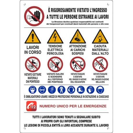 Cartello polionda 80x60 divieto accesso cantiere e uso DPI di sicurezza SIGN GROUP