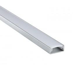 Profilo in alluminio per striscia a led modello stretto da 1m Milky Cover con accessori