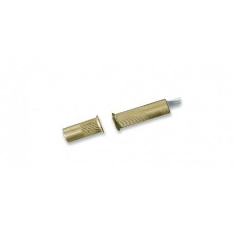 Contatto magnetico cilindrico in ottone con zigrinatura sotto testa per montaggio ad incasso