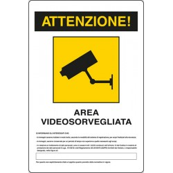 Cartello area videosorvegliata art.24