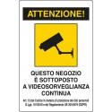 Cartello area videosorvegliata NEGOZIO ATTIVITA' COMMERCIALE art.13 nuovo GDPR