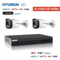 Kit videosorveglianza HYUNDAI color view dvr 4ch + 2 telecamere 2MPX 4in1 HD