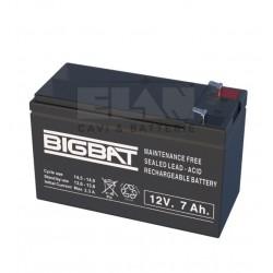 B1270 Elan Bigbat batteria al piombo 12V 7A per centrali di allarme