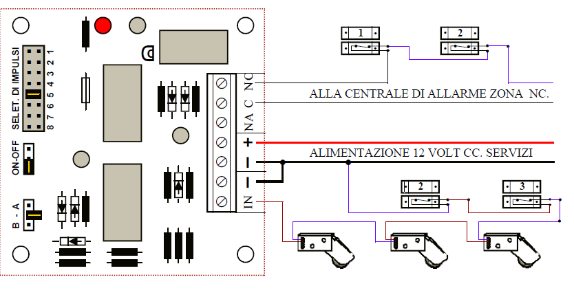 Schema Elettrico Sirena Autoalimentata : Rotello contatto a rotella protezione sollevamento tapparella